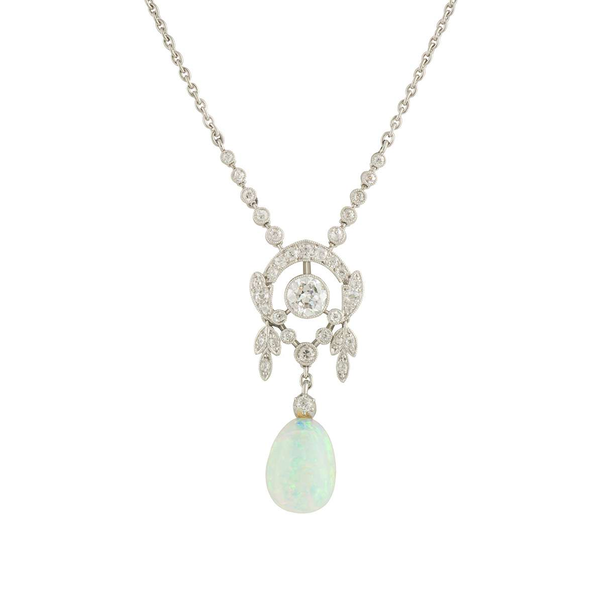 White Gold Diamond and Opal Belle Epoque Pendant